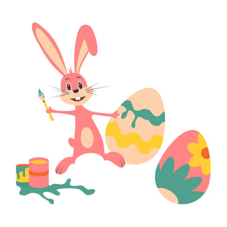 Cute Easter bunny. Vector illustration on white isolated background.