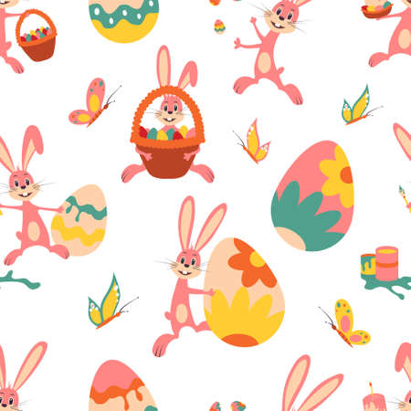 Easter bunny. Pattern. Vector illustration isolated on white background