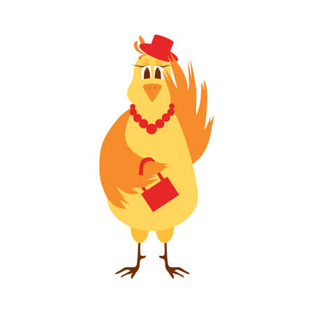 Illustration of a trendy laying hen on a white background. Vector illustration