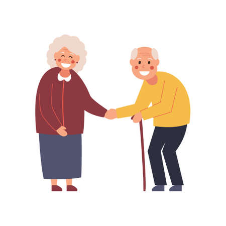 Couple at the meeting. Elderly people get to know each other. Say hello. Vector illustration.