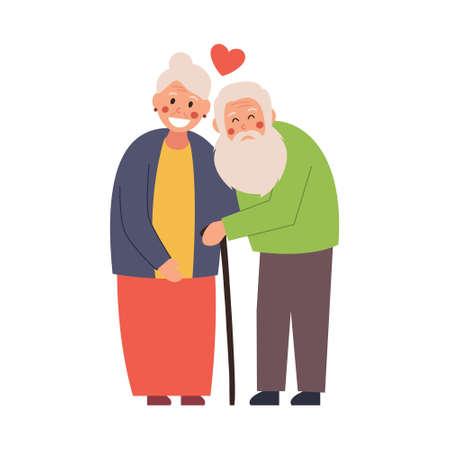 Elderly couple hugging tenderly, vector illustration on white isolated background.