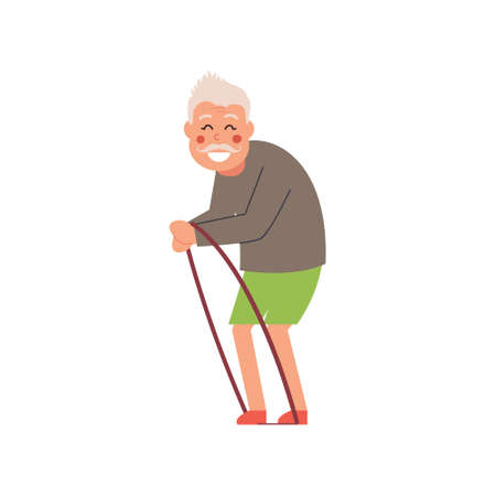The old man goes in for sports. Vector illustration on white isolated background