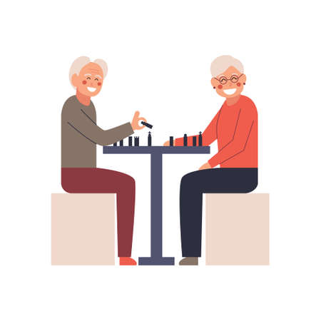 Elderly people playing chess. Vector isolated illustration. Cartoon character