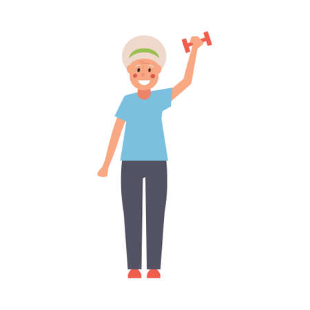In fashion, a modern grandmother with dumbbells in her hands does fitness exercises. Fully editable vector illustration.
