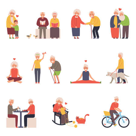 A set of vector illustrations of a group of old men and women in different situations
