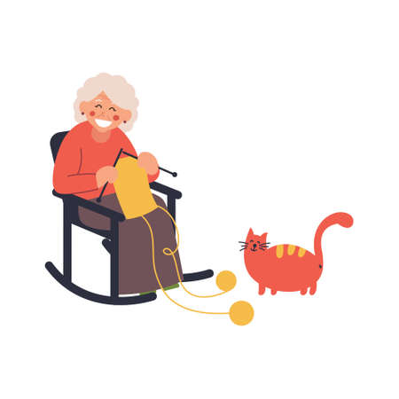 Grandmother knits on a rocking chair with a cat. Vector illustration on white isolated background Ilustrace