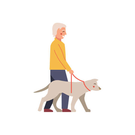 Illustration Featuring an Elderly Man Taking His Dog for a Walk Ilustrace