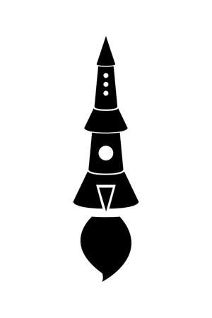 Rocket icon, black silhouette. Vector illustration isolated on white background