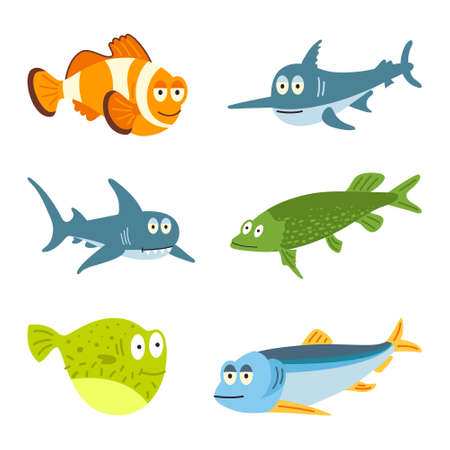 Fishes - set of vector icons. Isolated over white background.