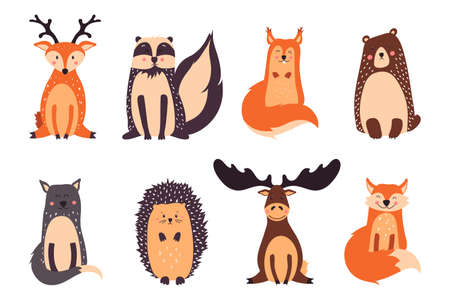 Forest animals vector illustration isolated on white background.