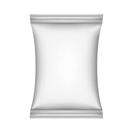 Food snack pillow bag on white background. Vector illustration. Can be use for template your design, promo, adv. Ilustracje wektorowe