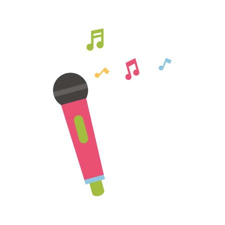 Microphone icon on white isolated background with music notes. Vector illustration.