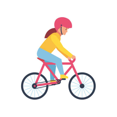 Cycling, happy side view. Vector illustration isolated on white background.