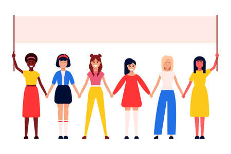 Diverse international and interracial group of standing women. For girls power concept, femininity and feminism ideas, women s empowerment, and role card design.