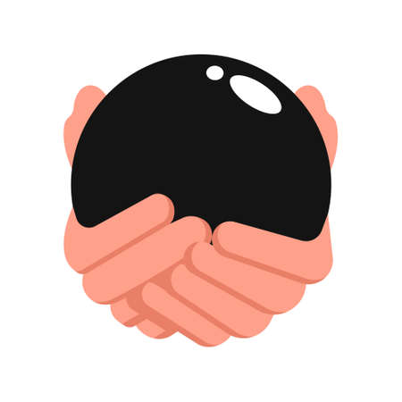 Vector hand and ball isolated on white background.
