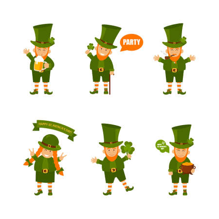 Set of people. St. Patrick s Day poster. Leprechaun in a face mask. Vector illustration.