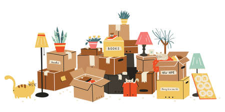 Moving to a new home. The family moved to a new home. Paper cardboard boxes with various household items. Vector illustration in a flat style. Vector Illustration