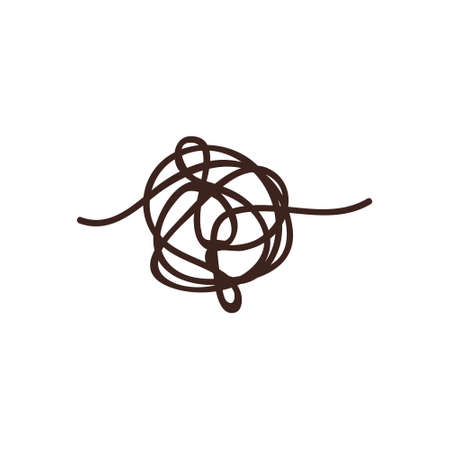 Confused process, chaos line symbol. Tangled scribble idea vector concept.