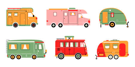 Retro, vintage, travel, delivery van isolated on white background. Vector illustration. 向量圖像