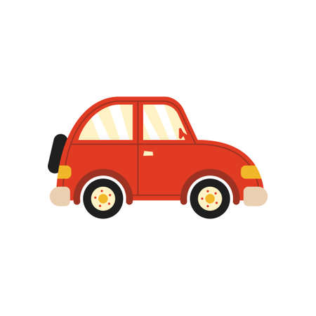 Retro car on white isolated background, simple style vector illustrations.