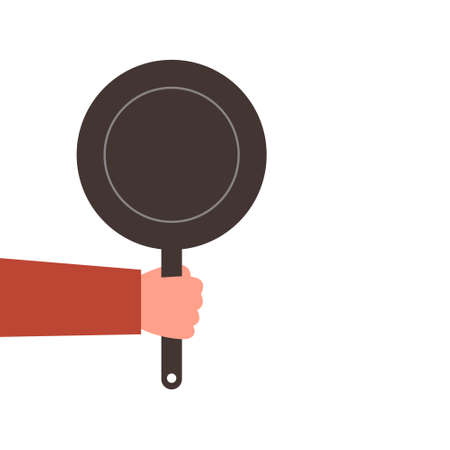 Hand with a frying pan, vector illustration on a white background.