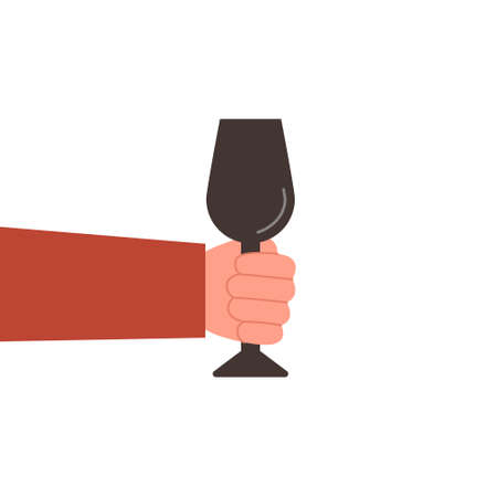 Glass in hand, vector illustration on white background.