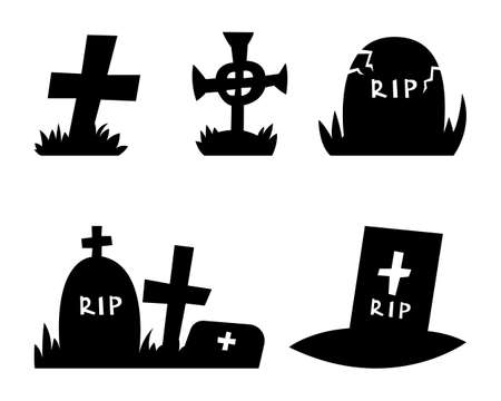 Grave icons set on white isolated background. Vector illustration.