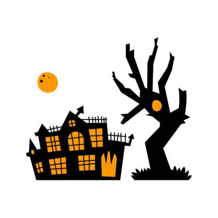 Vector black house with a tree with an orange moon. Cute Halloween card. Cartoon illustration. Night tree.