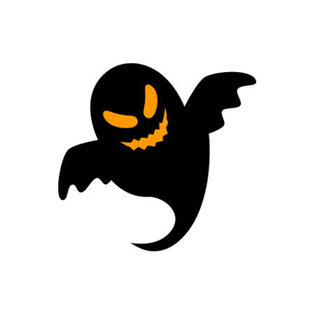 Flying ghostly spirit. Happy Halloween. Scary ghosts. Cute cartoon spooky character. Flat design. Vector illustration. 向量圖像