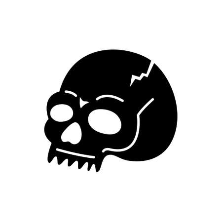 Anatomical skull vector drawing. Hand-drawn illustration of a skull. Grunge illustration. Halloween.