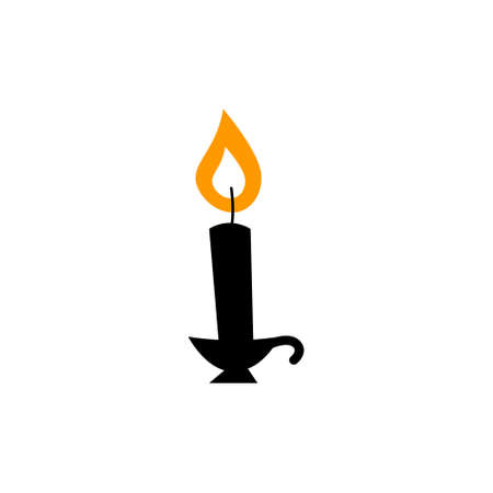 Old fashioned lighted candle, candlestick on flat vector holder icon for apps and websites. 向量圖像