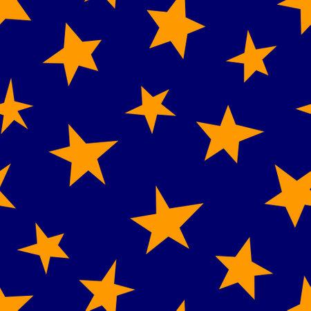 Stars seamless pattern on a blue background. Vector illustration.