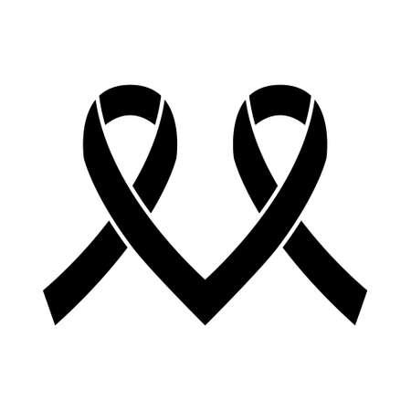 Mourning ribbon, Black awareness ribbon isolated on white background. 向量圖像