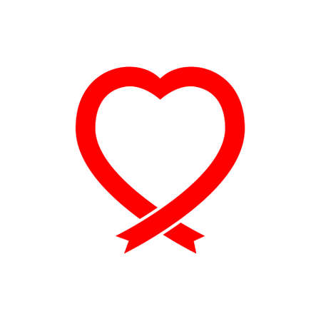 Red ribbon, breast cancer awareness flat vector icon for apps and websites.