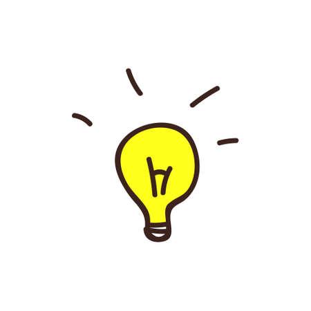 Light bulb, idea, doodle, vector illustration on a white background.