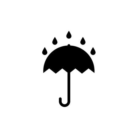Umbrella is a symbol of packaging. It is raining on the umbrella. Vector illustration isolated on white background.