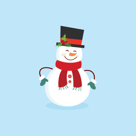Funny cartoon snowman, postcard, illustration with a snowman on a blue background.