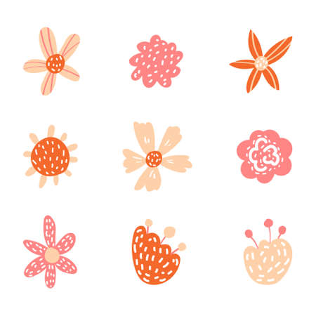 Vector floral in doodle style with flowers and leaves. Gentle, spring floral background.