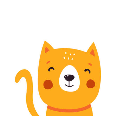 Cute cat cartoon. Vector illustration isolated on white background.