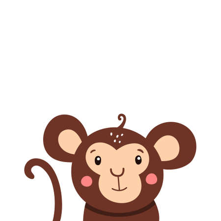 Cute monkey icon. Vector illustration isolated on a white background. Vectores