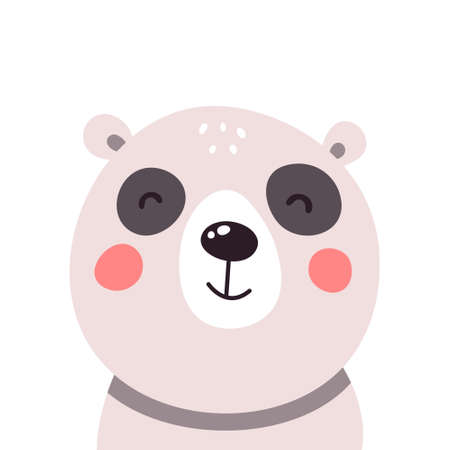 Cute panda face on white isolated background. Vector illustration.