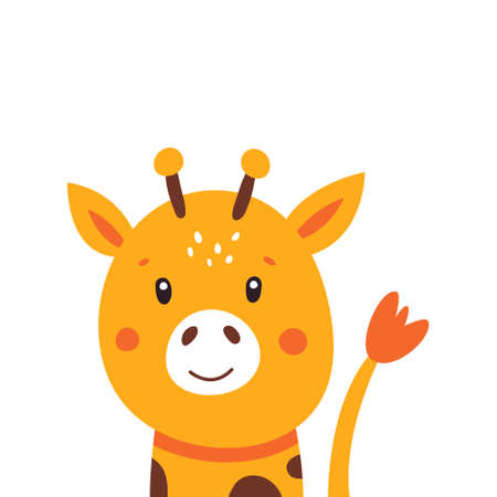 Illustration of a little cute giraffe on a white background. Vector illustration. Vectores