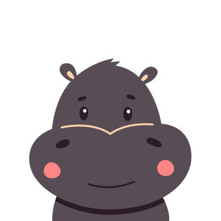 Hippo flat style vector. Wild herbivorous animal. African fauna species. Violet hippopotamus cartoon on white background. For nature concepts, children s books illustrating, printing materials. Vectores