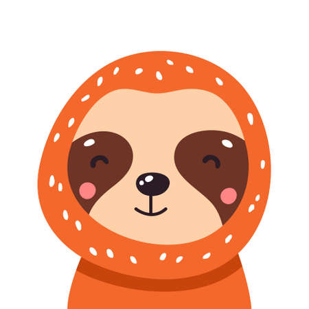 Cute baby sloth. Adorable illustration Vector funny sloth for greeting card, invitation, poster, phone and book cover, background.