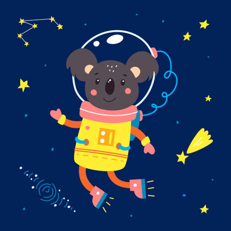 Animals in space. Vector illustration on a blue background. Vectores