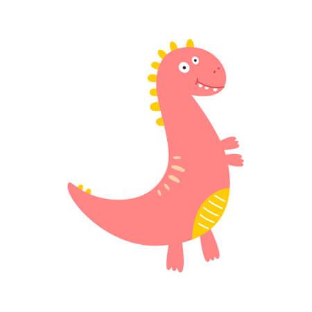 Cute dinosaur drawn as vector for kids fashion. Vectores