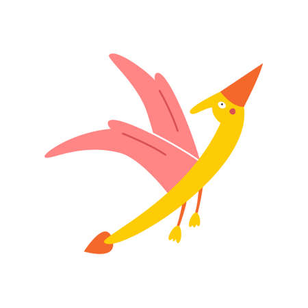 Cute cartoon pterodactyl on a white background, vector illustration.