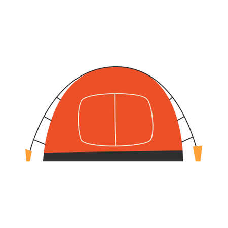 The only canvas tent on a white background. Vector illustration.