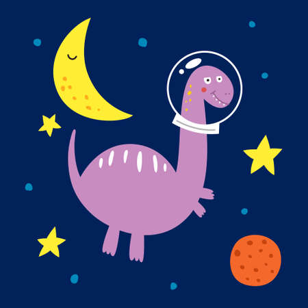Space dinosaur, vector illustration for children fashion.