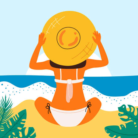 Retro summer poster with a beautiful woman. Great banner for beach party, hotel vacation advertisement. Summer background. Vector.